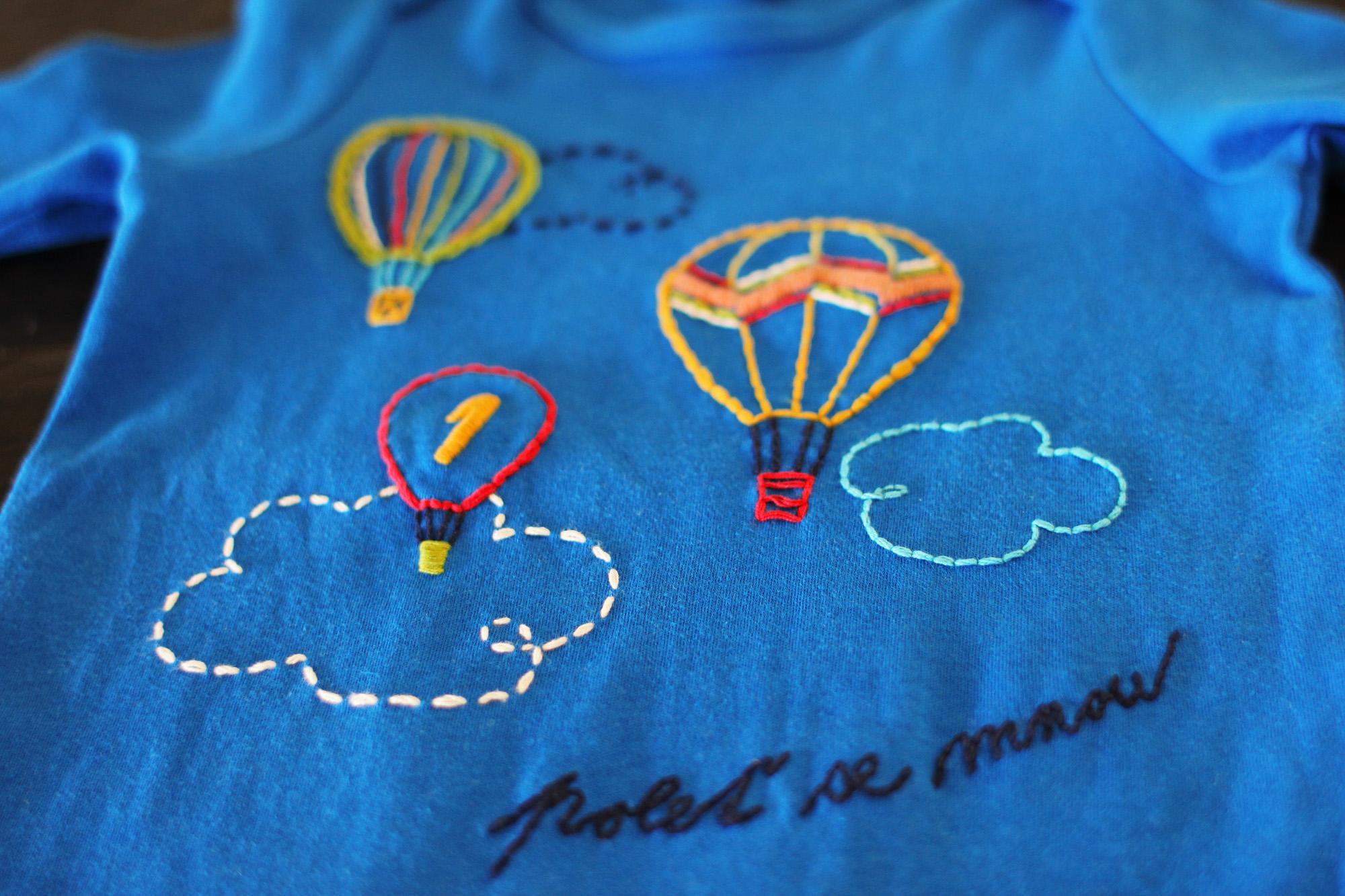 vyšívané balony detail