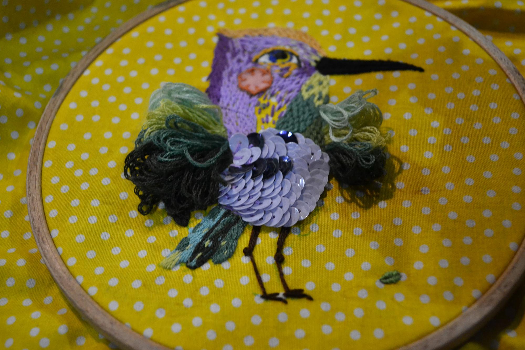výšivka pták denise schwenck